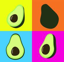 Cute Flat Illustration Avocado...