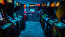 Arcade Video Games In An Empty...