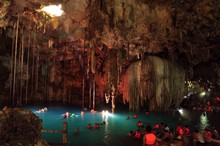 Tourists Swimming In Cenote Of Dzitnup Village Near Valladolid