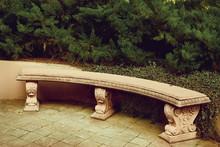 Ancient Empty Marble Bench Und...