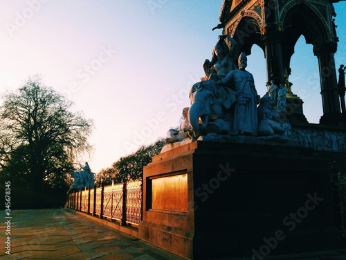 Low Angle View Of Sculptures At Albert Memorial By Road Against Clear Sky Canvas Print