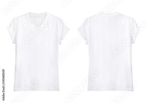 Tela White V-neck T Shirt  front and back on white background, Blank v-neck shirt moc