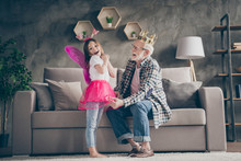Profile Photo Of Funny Aged Old Grandpa Golden Crown Head Little Pretty Granddaughter Fairy Prepared Stage Costumes Performers Stay Home Quarantine Safety Modern Interior Living Room Indoors