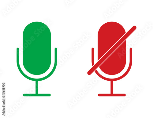 Photo Radio microphone icons in red and green colors