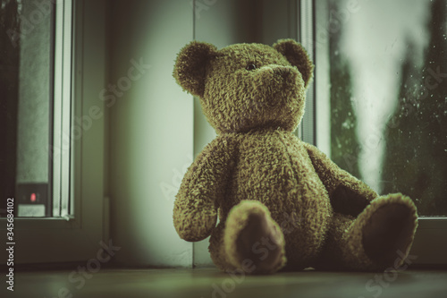 Close Up Of Teddy Bear Toy Placed By Window In Bedroom.