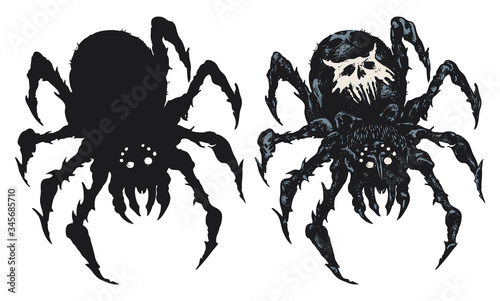 Photo Decorative illustration with a big black spider on the background of unreadable abstract scrawls written in a circle