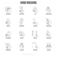 Washing Hands Thin Line Icons ...
