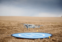 Drone Flying During The Day In Field. The Use Of Drones In The Agricultural Business