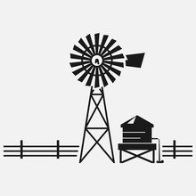 Traditional American Water Well Windmill Black And White Vector Icon.