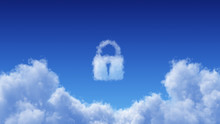 White Cumulus Cloud On Blue Sky Background With Lock Shape Above. The Concept Of Internet Network Security To Protect Data Makes It Safe From Hackers Access To Your Information.3D Render Illustration.