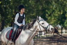 Smiling Little Girl In Helmet ...