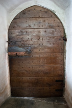 Old Wooden Arched Church Door