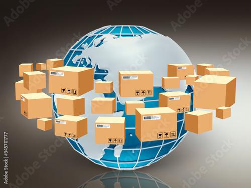 Fototapeta Global logistics