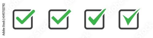 Fototapeta Set of check or tick icon on a white background obraz