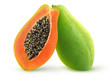 canvas print picture - Isolated papaya. Two halves of green papaya fruit isolated on white background