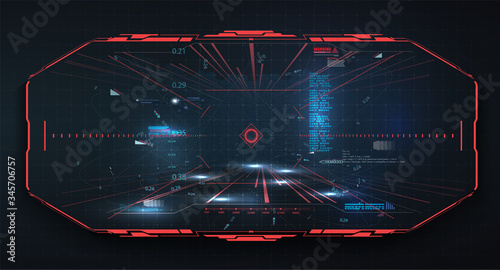 Fototapeta Modern illustration for game background design Futuristic HUD, GUI interface screen design  vector. Sci-Fi Virtual Reality technology view display. Technology vr background. Red virtual reality gaming obraz