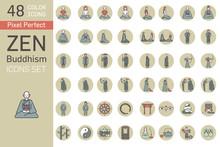 Zen Buddhism Icon Set Color