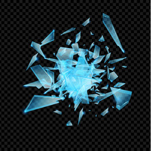 Realistic Transparent Shards Of Broken Glass. Blue Golssy Glass Pieses. Crash Background.