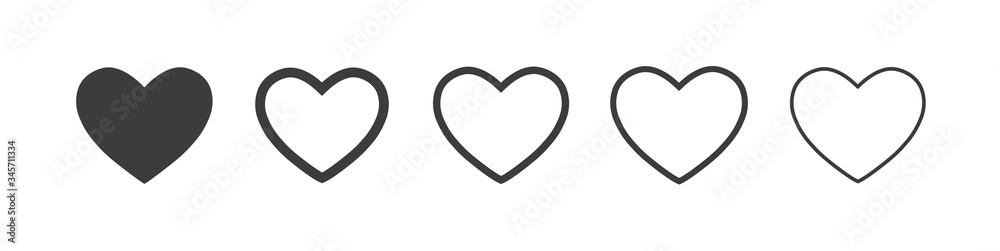 Fototapeta Heart vector icons. Vector set heart shape . Valentine's Day , medicine concept . Love passion concept. Romantic design. Gray hearts in the white background. Vector illustration