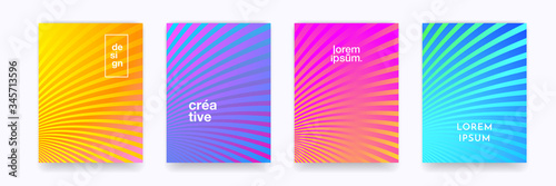 Obraz Color gradient halftone wave line pattern vector backgrounds, abstract trendy graphic design. Simple minimal wave line element pattern backgrounds in halftone color gradient - fototapety do salonu
