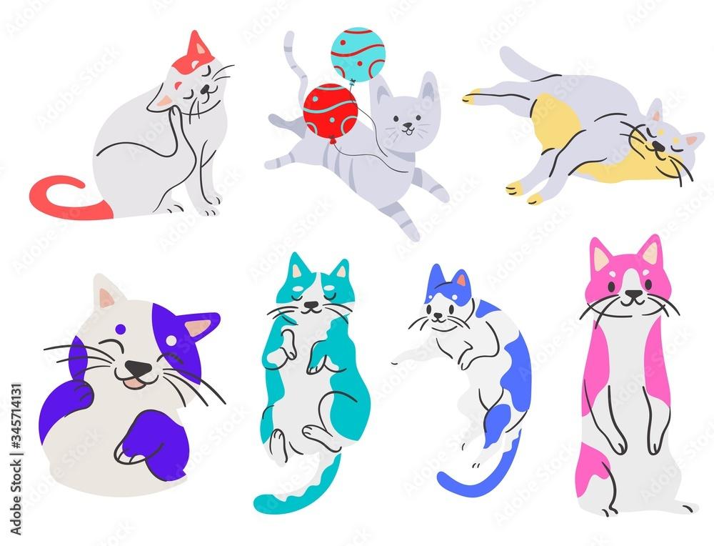 Fototapeta felinos, animal, dibujos animados, cuca, ilustración, gatita