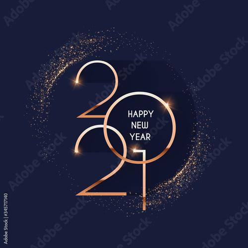 Fotografia Happy new 2021 year Elegant gold text with light