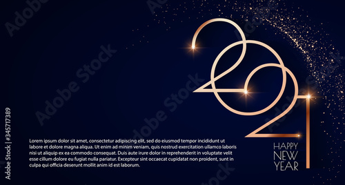 Fototapeta Happy new 2021 year Elegant gold text with light. Minimalistic text template. obraz