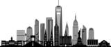 Fototapeta Nowy York - NEW YORK City Skyline Silhouette Cityscape Vector