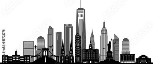 NEW YORK City Skyline Silhouette Cityscape Vector - 345722778