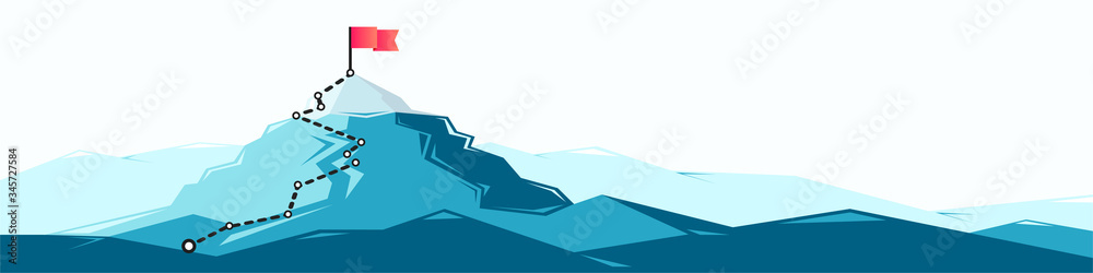 Fototapeta Flag on the mountain peak. Business concept of goal achievement or success. Flat style vector illustration