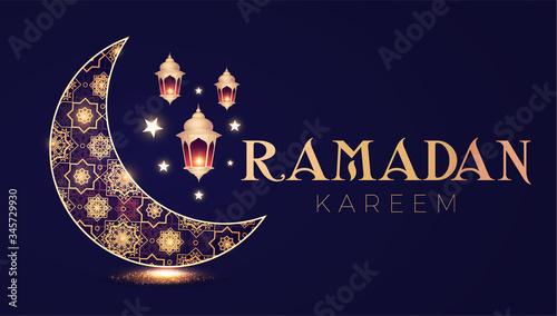 Photo Ramadan Kareem Greeting Card with Filigree Shining Crescent Moon and Lanterns