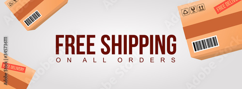 free shipping on all order clean banner with product cardboard shipment box back Fototapete