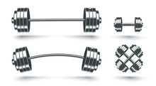 Vector Set Icons Of Barbells