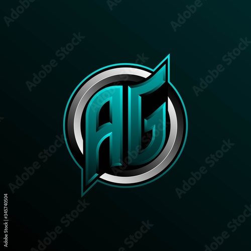 Initial AG logo design, Initial AG logo design with Circle style, Logo for game, esport, community or business Canvas Print