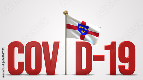 Canvas Print East Anglia realistic 3D flag and Covid-19 illustration.