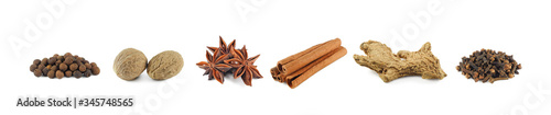 Papel de parede Set of dry spices isolated on white background: allspice, nutmeg, star anise, ci