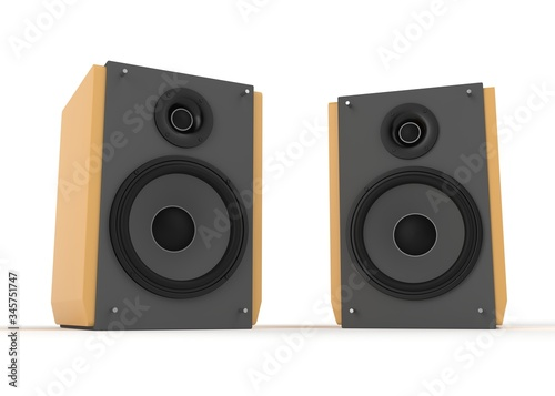 Audio speaker isolated on white 3d rendering Canvas Print