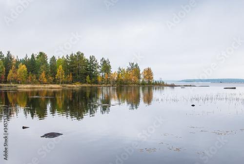 Autumn waterscape on Ladoga lake Slika na platnu