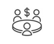 Meeting line icon. Business teamwork sign. Group of people symbol. Quality design element. Editable stroke. Linear style meeting icon. Vector