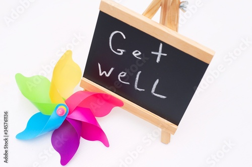 Get well writing on a slate Tablou Canvas