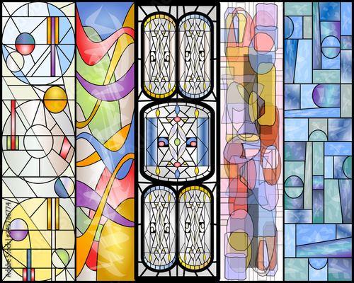 Fotografía Stained Glass Abstract Vintage and Modern Designs Collection