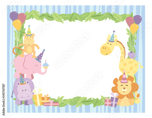 A vector illustration of an empty frame background with cute safari animals with birthday party hats, balloons and gifts