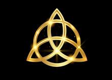 Triquetra Geometric Logo, Gold...