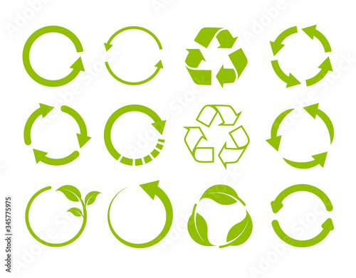 Valokuvatapetti Recycling icon collection