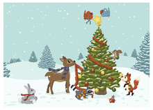 A Vector Illustration Of Cute Winter Woods Animals Decorating A Christmas Tree In A Snowy Winter Landscape
