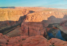 Aerial View Of Horseshoe Bend And Colorado River At Sunset, Arizona