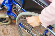 Hand Handicap Woman In Wheelch...