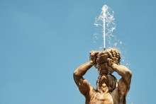 Low Angle View Of Fountain Against Clear Sky