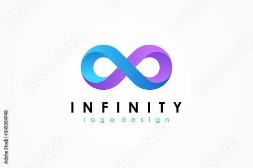 Blue and Purple Motion Infinity Logo isolated on White Background Wallpaper Mural