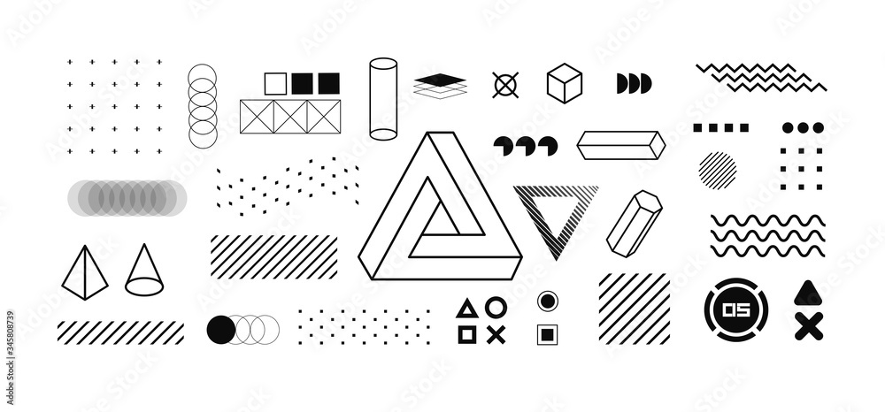Fototapeta Modern geometric shapes collection. Isolated trendy graphics elements for your design. Vaporwave style, universal geometric shapes and elements on dark background. Vector memphis elements set